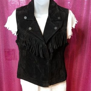 Genuine black leather moto vest
